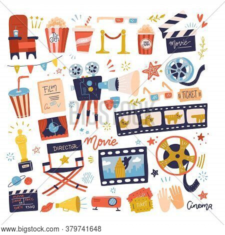 Big Set Of Cinema Icons. Making Film And Watch Movie In The Cinema Illustration Collection. Cartoon