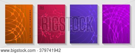 Biotechnology And Neuroscience Vector Covers With Neuron Cells Structure. Flexible Curve Lines Flux