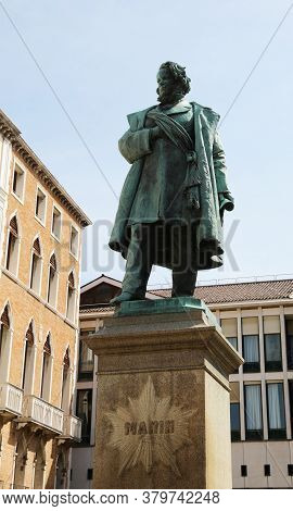 Statue Of The Venetian Patriot Called Daniele Manin In The Island Of Venice In Italy
