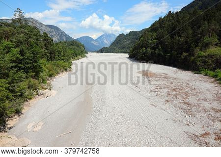 Bed Of The Tagliamento River In Italy Without Water During The Drought And Also Due To The Karst Phe