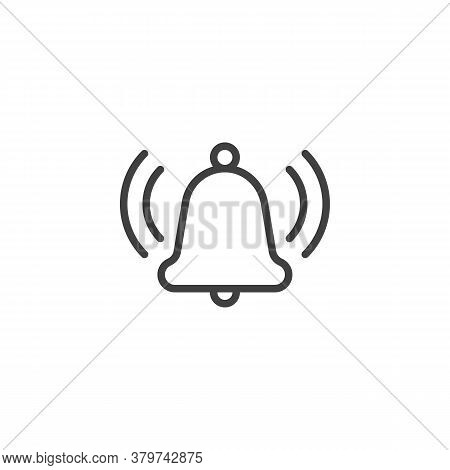 Alarm Bell Notice Line Icon. Linear Style Sign For Mobile Concept And Web Design. Ringing Bell Notif