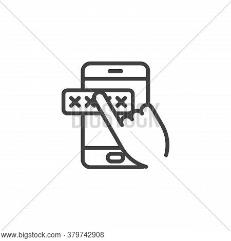 Mobile Phone Security Line Icon. Linear Style Sign For Mobile Concept And Web Design. Entering Passw