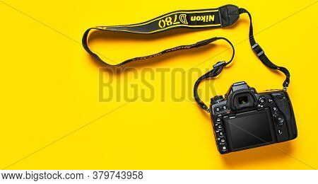 Moscow, Russia - July 15, 2020: Modern Slr And Mirrorless Camera Nikon D780 Fx On Yellow Background