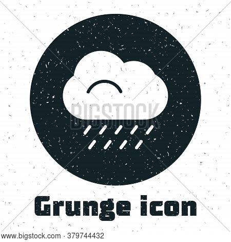 Grunge Cloud With Rain Icon Isolated On White Background. Rain Cloud Precipitation With Rain Drops.