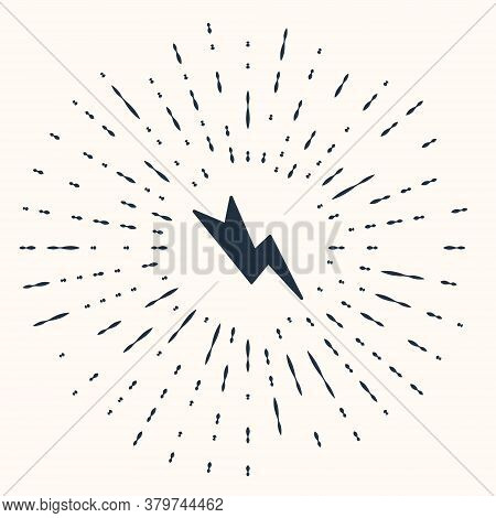Grey Lightning Bolt Icon Isolated On Beige Background. Flash Sign. Charge Flash Icon. Thunder Bolt.