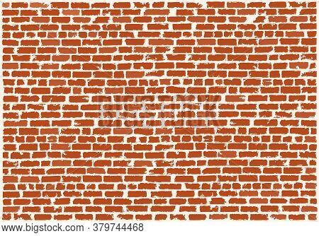 Brickwork Of Red Refractory Bricks. Red Brick Wall. Vector Grunge Background. Brick Grunge Texture.