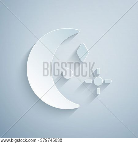 Paper Cut Moon And Stars Icon Isolated On Grey Background. Cloudy Night Sign. Sleep Dreams Symbol. N