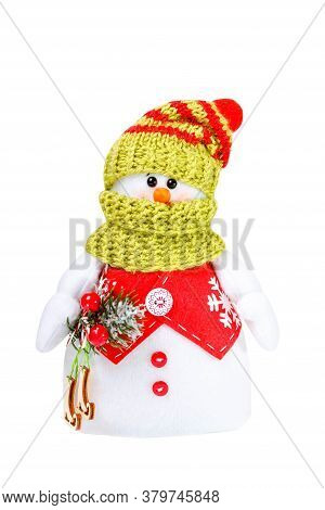 Snowman With Hat And Scarf Isolated On White Background. Cheerful Snowman. Winter Christmas Backgrou