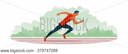 Athlete With Cute Blue Hair Color Runs Along The Stadium Track. Jogging Train Of A Handsome Guy With