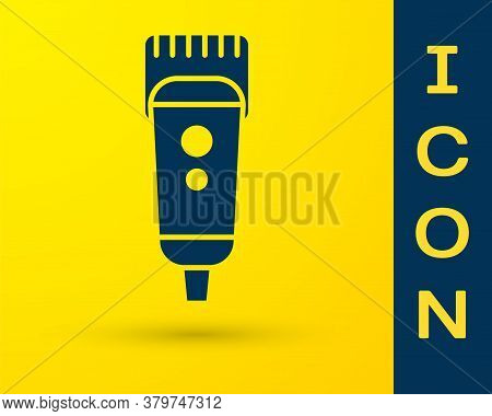 Blue Electrical Hair Clipper Or Shaver Icon Isolated On Yellow Background. Barbershop Symbol. Vector