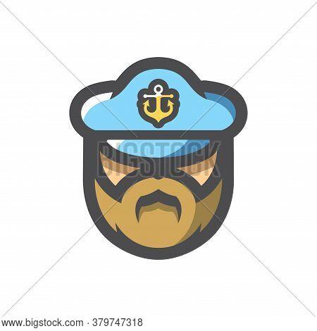 Captain Men In Cap Vector Icon Cartoon Illustration.
