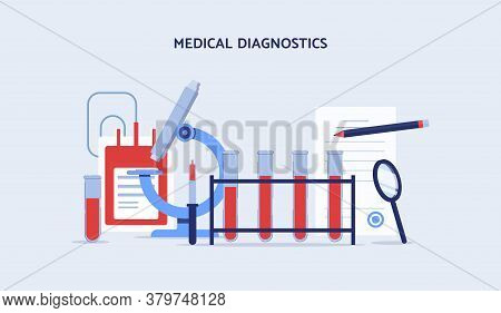 Medical Blood Diagnosis Equipment - Flat Cartoon Banner.