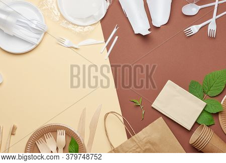 Non-degradable Plastic Waste From Disposable Tableware And A Set Of Dishes From Environmental Recycl