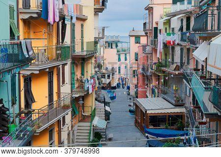 Manarila Picturesque Town Street Of Cinque Terre, Italy