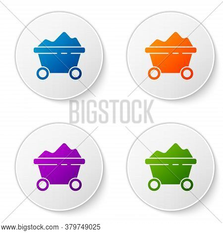 Color Coal Mine Trolley Icon Isolated On White Background. Factory Coal Mine Trolley. Set Icons In C