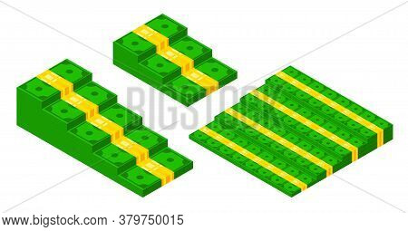 Isometric Banknote Stairs Set. Money Steps Or Cash Pyramids Collection. Cash Flow Stairs Vector Illu