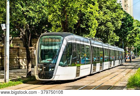 City Tram In Downtown Rio De Janeiro, Brazil