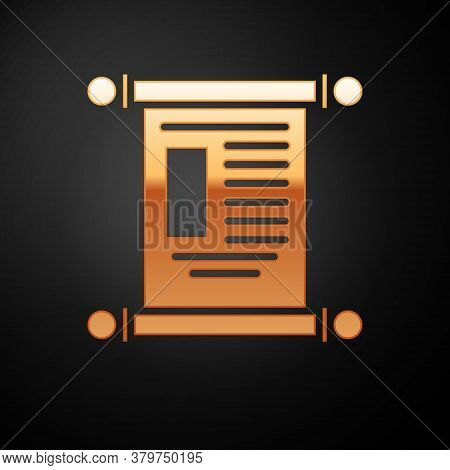 Gold Decree, Paper, Parchment, Scroll Icon Icon Isolated On Black Background. Chinese Scroll. Vector