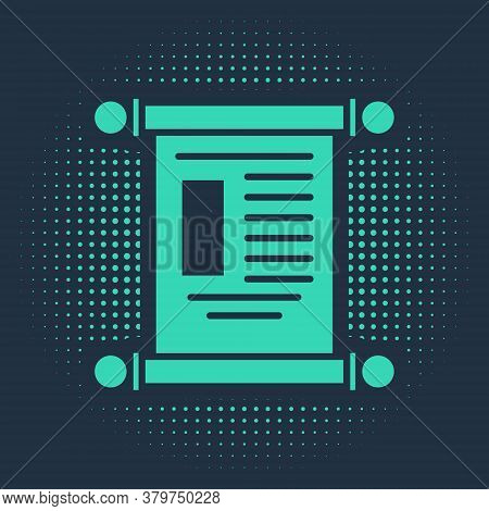 Green Decree, Paper, Parchment, Scroll Icon Icon Isolated On Blue Background. Chinese Scroll. Abstra