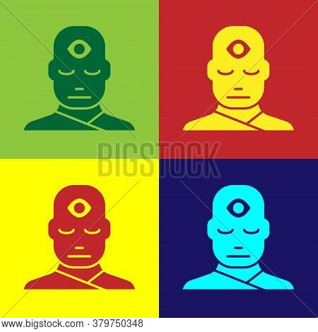 Pop Art Man With Third Eye Icon Isolated On Color Background. The Concept Of Meditation, Vision Of E