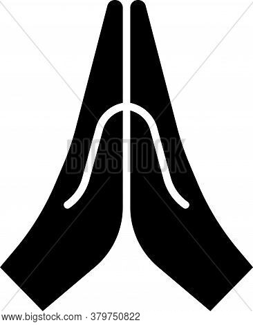 Black Hands In Praying Position Icon Isolated On White Background. Prayer To God With Faith And Hope