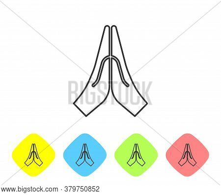 Grey Line Hands In Praying Position Icon Isolated On White Background. Prayer To God With Faith And