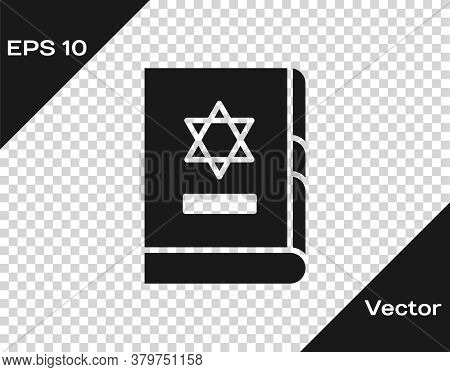 Black Jewish Torah Book Icon Isolated On Transparent Background. On The Cover Of The Bible Is The Im
