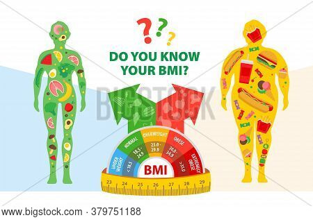 Weight Loss Concept. Body Mass Index. Before And After Diet And Fitness. Body With Different Weight.