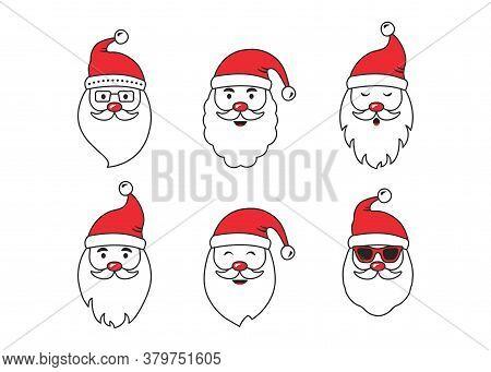 Christmas Santa Claus Face Vector Icons, Cute Cartoon Character, Red Santa Hat, New Year Collection,