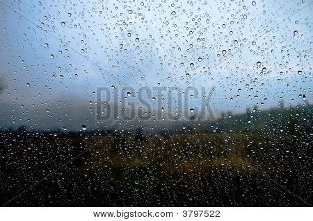 Background Of Glass And Rain Drop