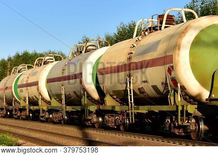 Transport Tank Car Lng By Rail, Gas - Oil Products. Lpg Transport Propane. The Fuel Train, Rolling S