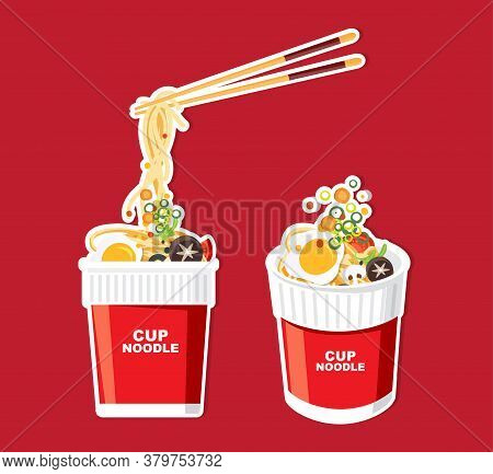 Instant Noodle In Cup, Packaging, Vector Illustration