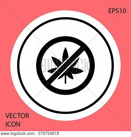 Black Stop Marijuana Or Cannabis Leaf Icon Isolated On Red Background. No Smoking Marijuana. Hemp Sy