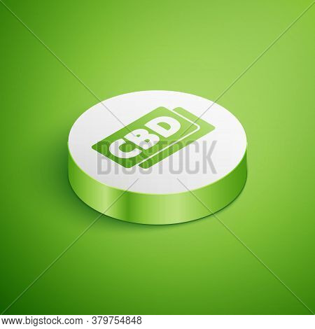 Isometric Cannabis Molecule Icon Isolated On Green Background. Cannabidiol Molecular Structures, Thc