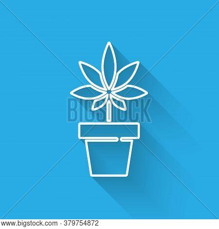 White Line Medical Marijuana Or Cannabis Plant In Pot Icon Isolated With Long Shadow. Marijuana Grow