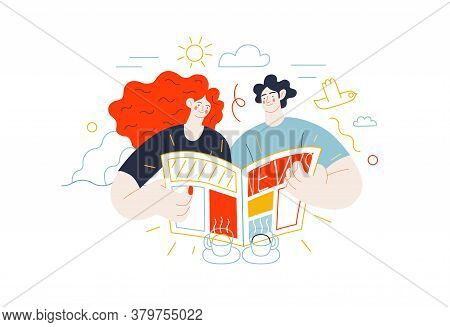 Business Topics - News. Flat Style Modern Outlined Vector Concept Illustration. A Couple, Man And Wo