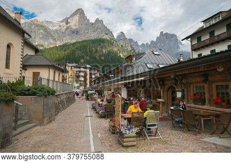 San Martino Di Castrozza, Italy - July 21, 2020: Summer View Of The Historic Center Of San Martino D