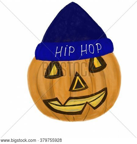 Halloween Jack O Lantern Pumpkin Smiling In Blue Hat With Hip-hop Text Isolated On White Background.