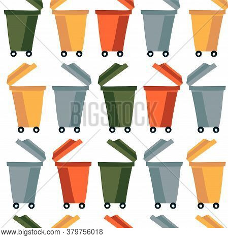 Open Waste Bins For Separate Waste Collection. Waste Recycling And Clean Land Conservation Concept.