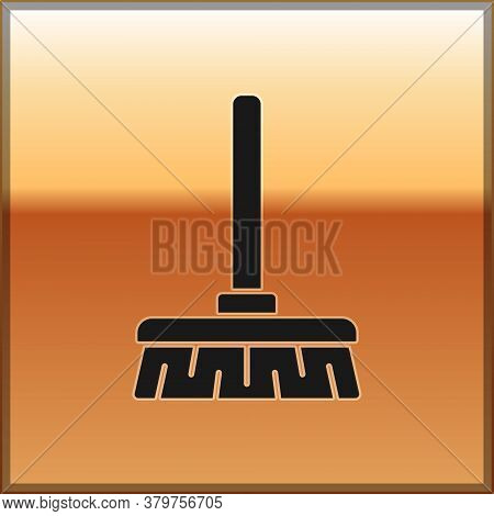 Black Handle Broom Icon Isolated On Gold Background. Cleaning Service Concept. Vector Illustration