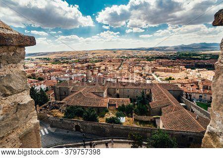 October 01, 2018: Avila, Castile And Leon, Spain. Medieval Avila Castle From Inside.