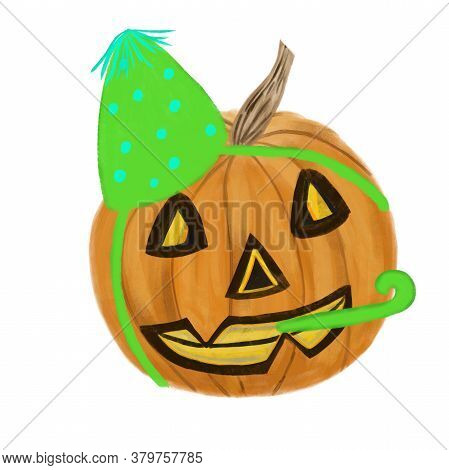 Halloween Jack O Lantern Pumpkin In Green Celebration Cap Isolated On White. Halloween Symbol. Stick