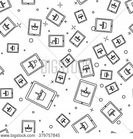 Black Line Shopping Basket On Screen Tablet Icon Isolated Seamless Pattern On White Background. Conc