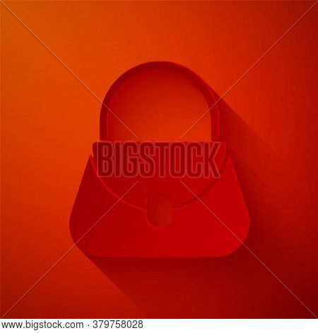 Paper Cut Handbag Icon Isolated On Red Background. Female Handbag Sign. Glamour Casual Baggage Symbo