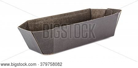 Dark Brown Retail Carton Container For Packing Fruits And Vegetables Isolated On White Background
