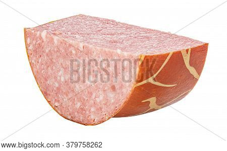 Cutted Piece Of Smoked Sausage In Striped Brown Shell Isolated On White Background