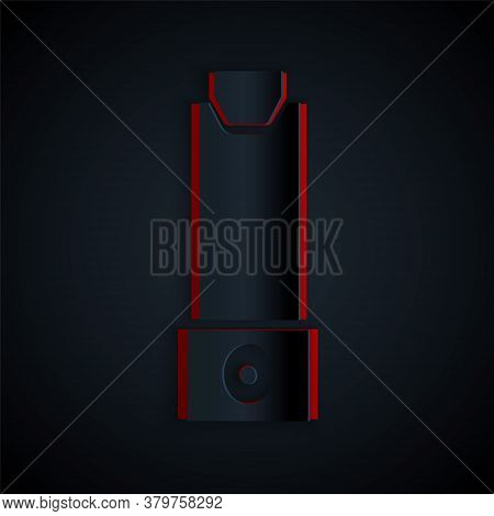 Paper Cut Inhaler Icon Isolated On Black Background. Breather For Cough Relief, Inhalation, Allergic