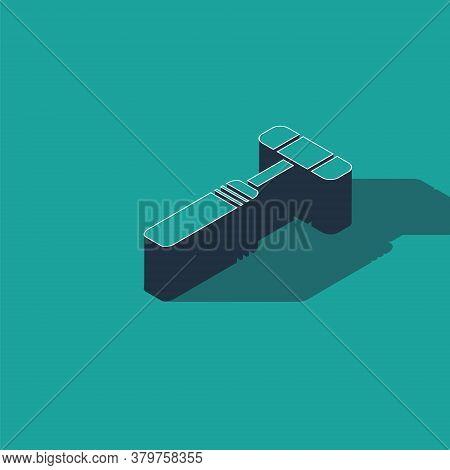 Isometric Neurology Reflex Hammer Icon Isolated On Green Background. Vector Illustration