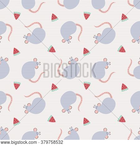 Vector Pattern Of Cute Rats On Grey Background. Cute Cartoon Illustrations Of Seamless Rats In Doodl