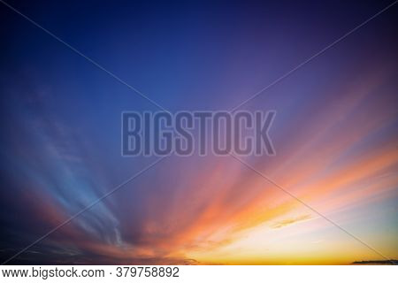 Colorful Sunset In Blue And Violet Colors Like A Painted Sky In The Evening